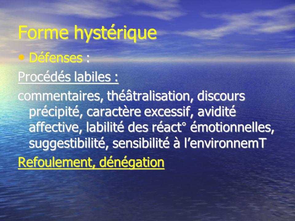 Forme hystérique Défenses : Défenses : Procédés labiles : commentaires, théâtralisation, discours précipité, caractère excessif, avidité affective, la