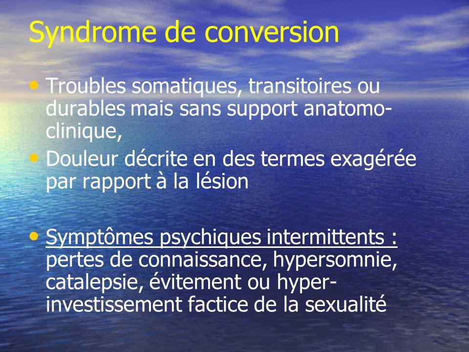 Syndrome de conversion Troubles somatiques, transitoires ou durables mais sans support anatomo- clinique, Douleur décrite en des termes exagérée par r