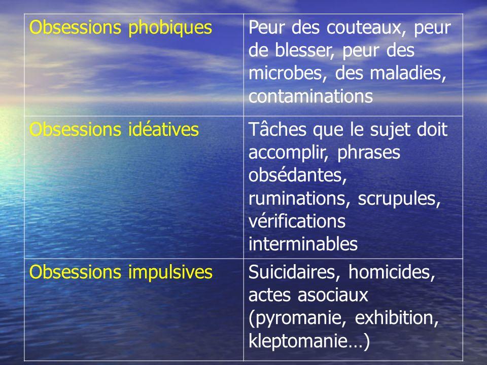 Obsessions phobiques Peur des couteaux, peur de blesser, peur des microbes, des maladies, contaminations Obsessions idéativesTâches que le sujet doit