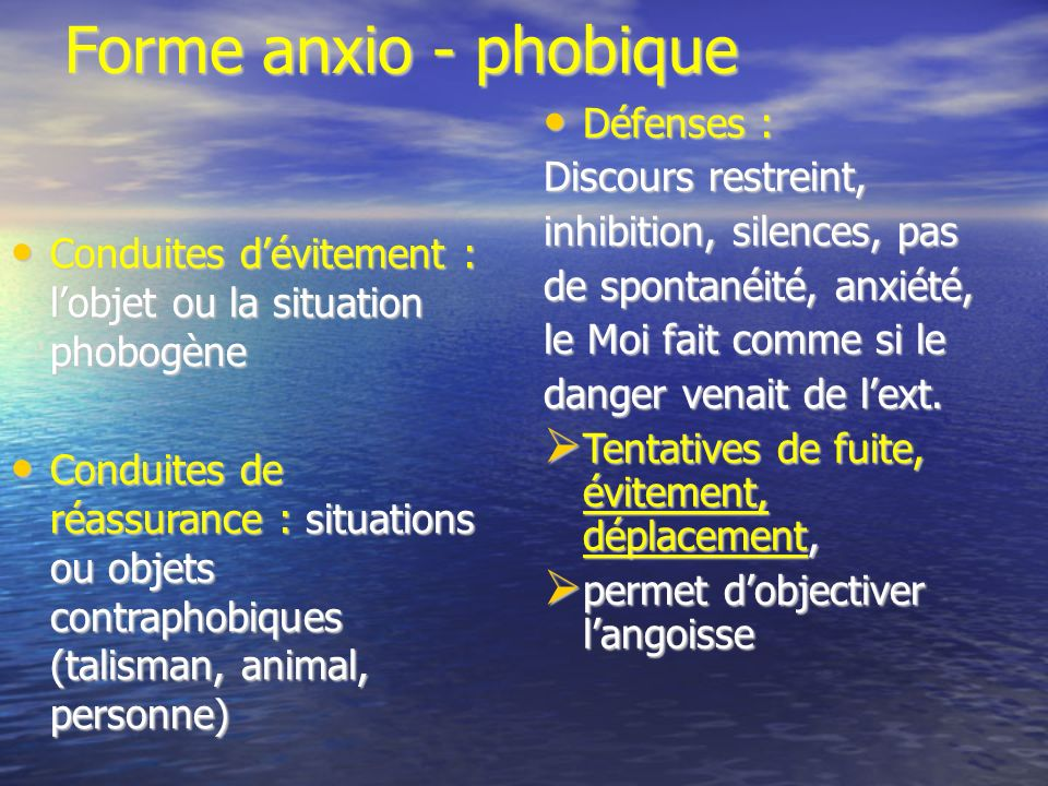 Forme anxio - phobique Conduites dévitement : lobjet ou la situation phobogène Conduites dévitement : lobjet ou la situation phobogène Conduites de ré