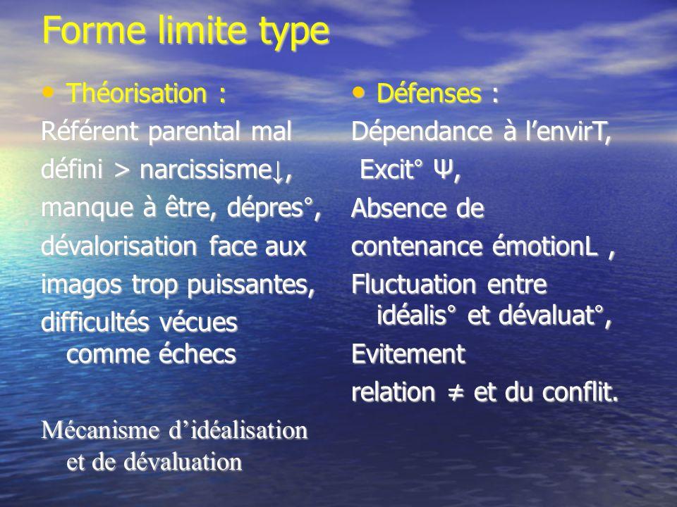Forme limite type Théorisation : Théorisation : Référent parental mal défini > narcissisme, manque à être, dépres°, dévalorisation face aux imagos tro