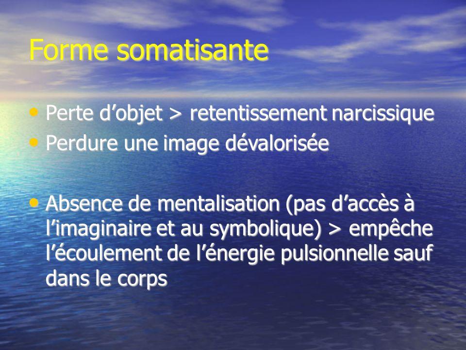 Forme somatisante Perte dobjet > retentissement narcissique Perte dobjet > retentissement narcissique Perdure une image dévalorisée Perdure une image