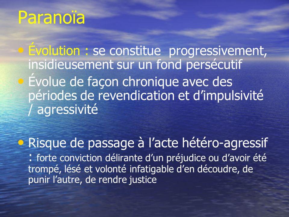 Paranoïa Évolution : se constitue progressivement, insidieusement sur un fond persécutif Évolue de façon chronique avec des périodes de revendication
