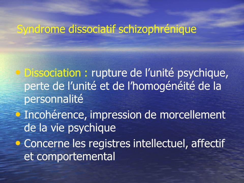 Syndrome dissociatif schizophrénique Dissociation : rupture de lunité psychique, perte de lunité et de lhomogénéité de la personnalité Incohérence, im