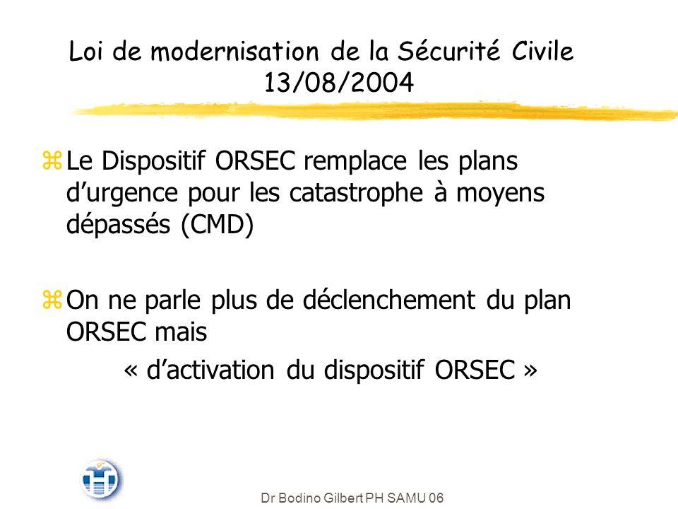 Loi de modernisation de la Sécurité Civile 13/08/2004 zLe Dispositif ORSEC remplace les plans durgence pour les catastrophe à moyens dépassés (CMD) zOn ne parle plus de déclenchement du plan ORSEC mais « dactivation du dispositif ORSEC » Dr Bodino Gilbert PH SAMU 06