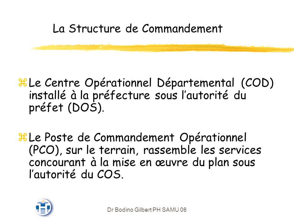 Dr Bodino Gilbert PH SAMU 06 La Structure de Commandement zLe Centre Opérationnel Départemental (COD) installé à la préfecture sous lautorité du préfet (DOS).