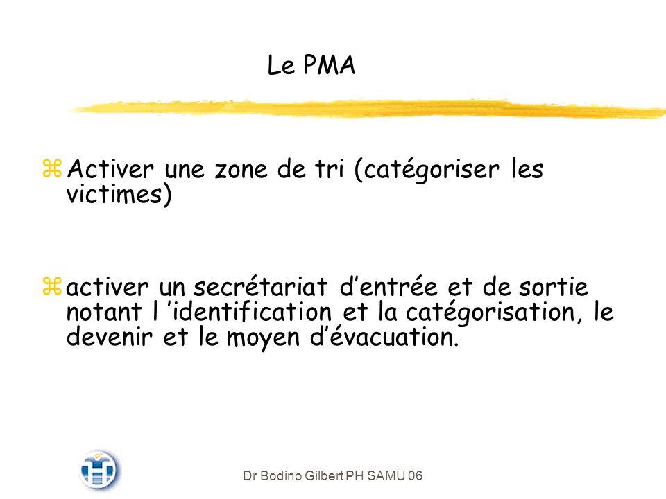 Dr Bodino Gilbert PH SAMU 06 Le PMA zActiver une zone de tri (catégoriser les victimes) zactiver un secrétariat dentrée et de sortie notant l identification et la catégorisation, le devenir et le moyen dévacuation.
