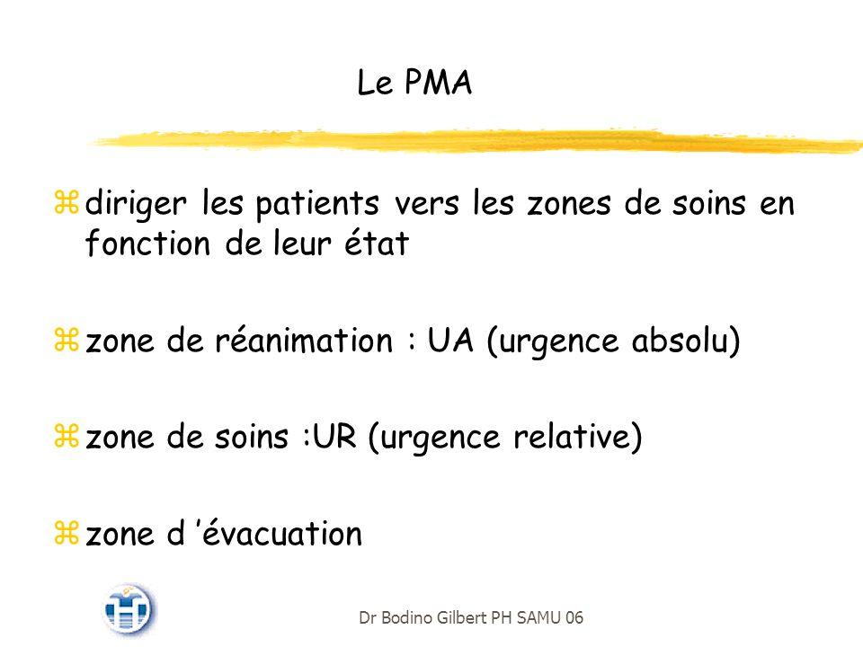 Le PMA zdiriger les patients vers les zones de soins en fonction de leur état zzone de réanimation : UA (urgence absolu) zzone de soins :UR (urgence relative) zzone d évacuation Dr Bodino Gilbert PH SAMU 06