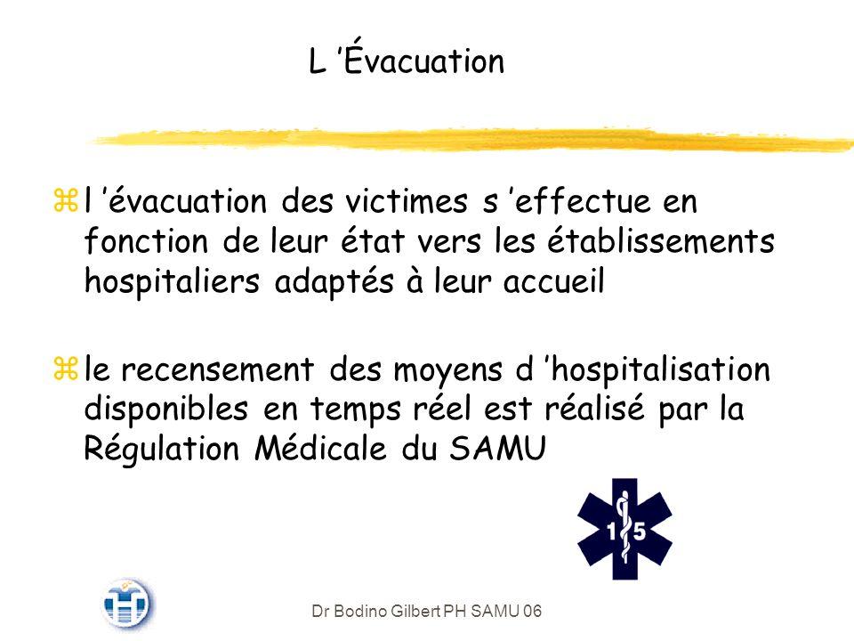 Dr Bodino Gilbert PH SAMU 06 L Évacuation zl évacuation des victimes s effectue en fonction de leur état vers les établissements hospitaliers adaptés à leur accueil zle recensement des moyens d hospitalisation disponibles en temps réel est réalisé par la Régulation Médicale du SAMU