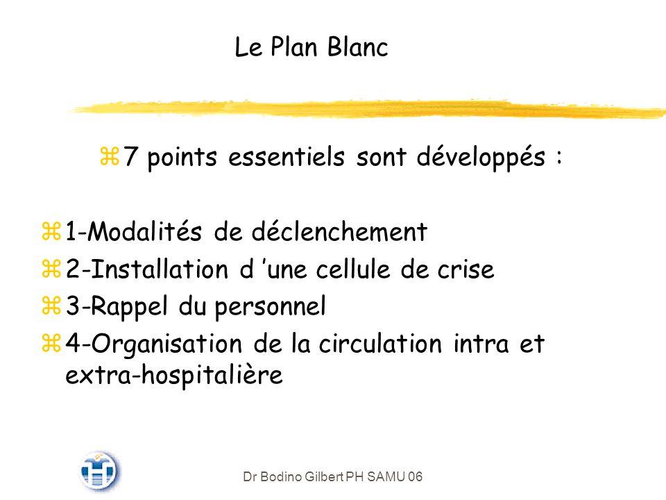 Dr Bodino Gilbert PH SAMU 06 Le Plan Blanc z7 points essentiels sont développés : z1-Modalités de déclenchement z2-Installation d une cellule de crise z3-Rappel du personnel z4-Organisation de la circulation intra et extra-hospitalière