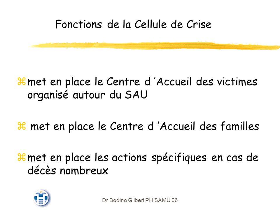 Dr Bodino Gilbert PH SAMU 06 Fonctions de la Cellule de Crise zmet en place le Centre d Accueil des victimes organisé autour du SAU z met en place le Centre d Accueil des familles zmet en place les actions spécifiques en cas de décès nombreux