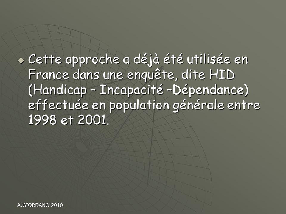 A.GIORDANO 2010 Cette approche a déjà été utilisée en France dans une enquête, dite HID (Handicap – Incapacité –Dépendance) effectuée en population gé