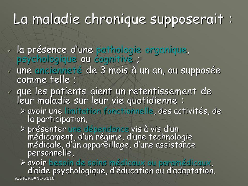 A.GIORDANO 2010 la présence dune pathologie organique, psychologique ou cognitive ; la présence dune pathologie organique, psychologique ou cognitive