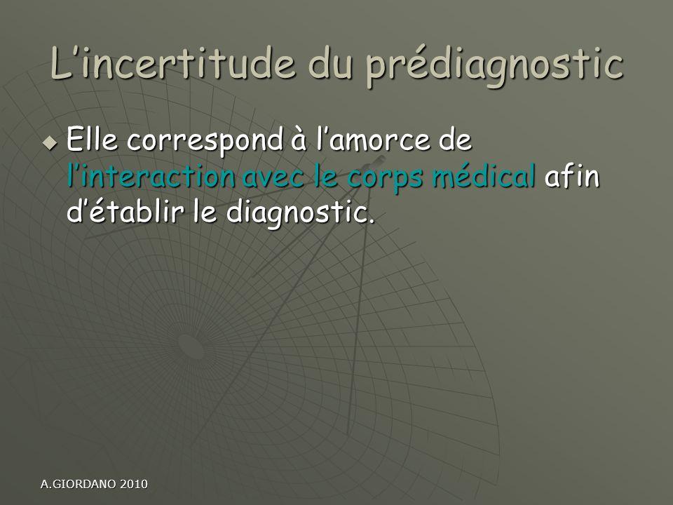 A.GIORDANO 2010 Lincertitude du prédiagnostic Elle correspond à lamorce de linteraction avec le corps médical afin détablir le diagnostic. Elle corres