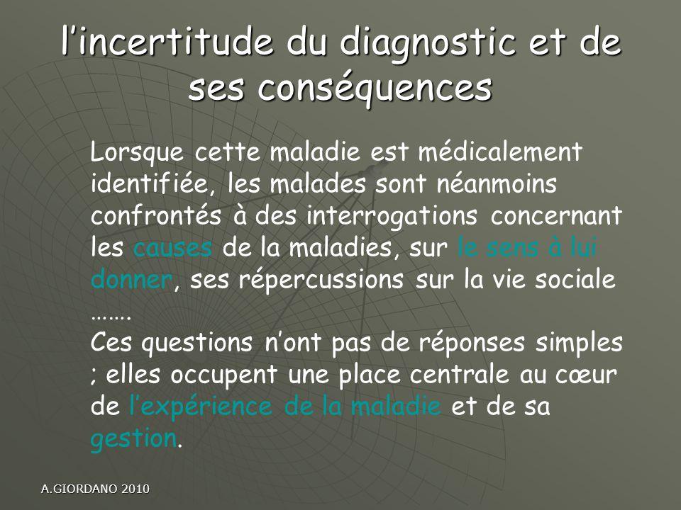 A.GIORDANO 2010 lincertitude du diagnostic et de ses conséquences Lorsque cette maladie est médicalement identifiée, les malades sont néanmoins confro