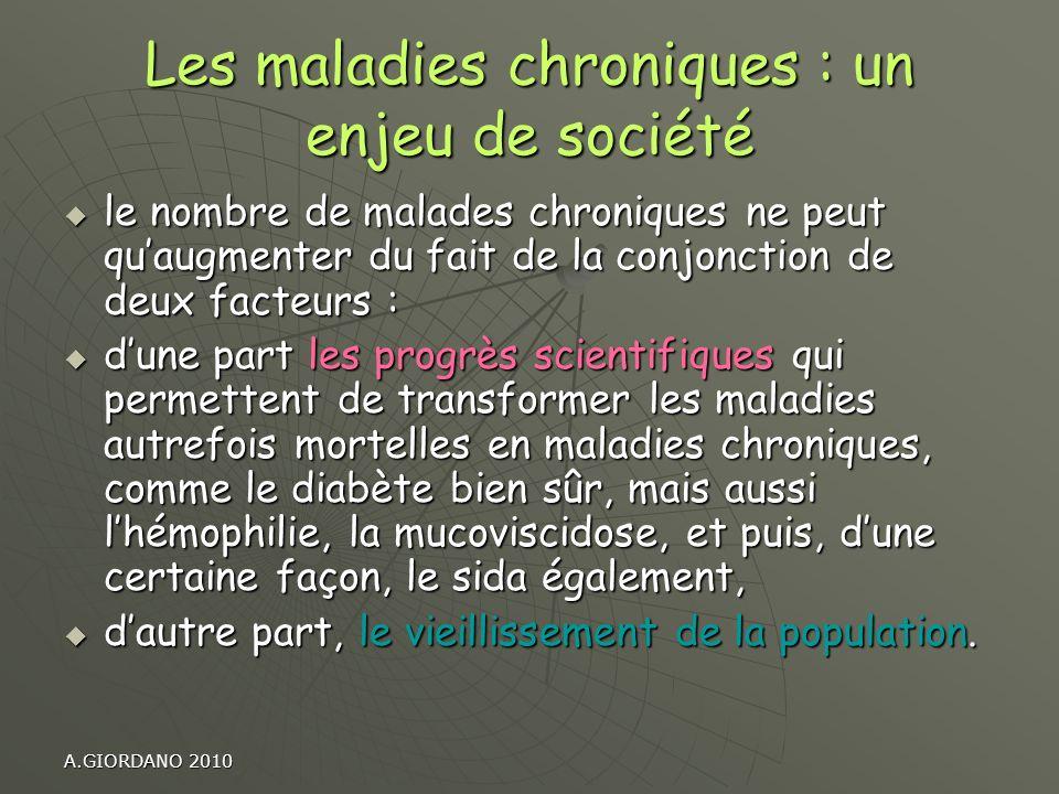 A.GIORDANO 2010 Les maladies chroniques : un enjeu de société le nombre de malades chroniques ne peut quaugmenter du fait de la conjonction de deux fa