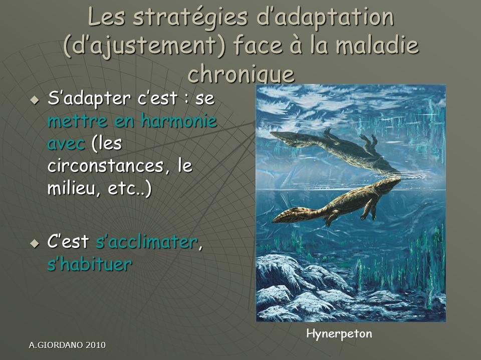 A.GIORDANO 2010 Les stratégies dadaptation (dajustement) face à la maladie chronique Sadapter cest : se mettre en harmonie avec (les circonstances, le