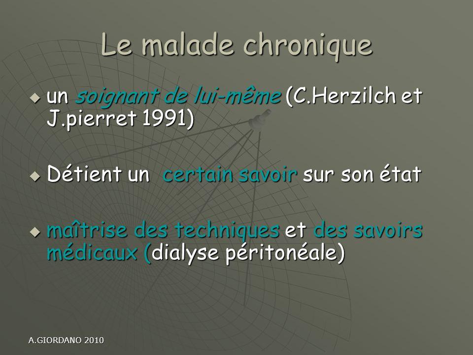 Le malade chronique un soignant de lui-même (C.Herzilch et J.pierret 1991) un soignant de lui-même (C.Herzilch et J.pierret 1991) Détient un certain s