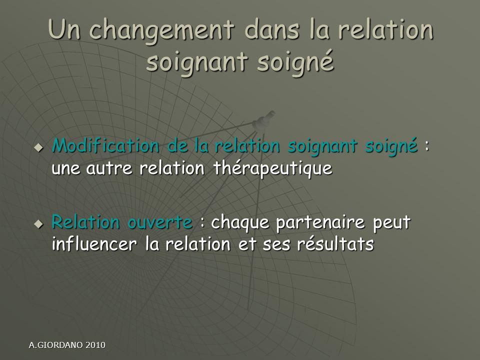 A.GIORDANO 2010 Un changement dans la relation soignant soigné Modification de la relation soignant soigné : une autre relation thérapeutique Modifica