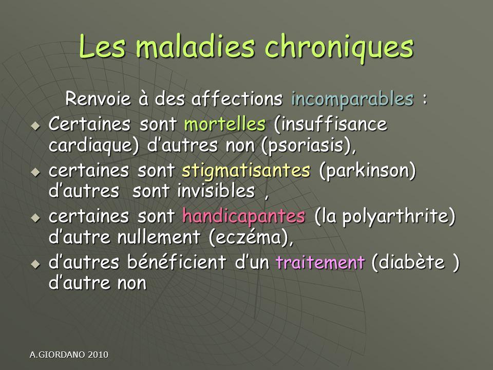 A.GIORDANO 2010 Les maladies chroniques Renvoie à des affections incomparables : Certaines sont mortelles (insuffisance cardiaque) dautres non (psoria