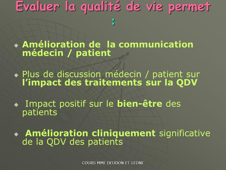 COURS MME DEUDON ET LEONE Évaluer la qualité de vie permet : Amélioration de la communication médecin / patient Plus de discussion médecin / patient s