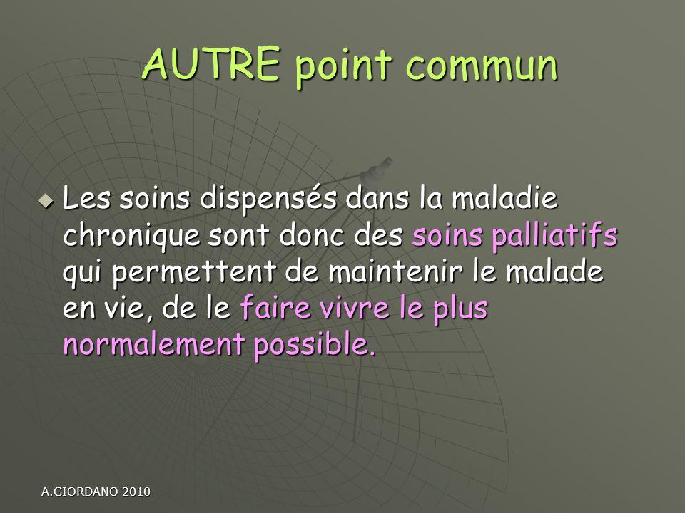 A.GIORDANO 2010 AUTRE point commun AUTRE point commun Les soins dispensés dans la maladie chronique sont donc des soins palliatifs qui permettent de m