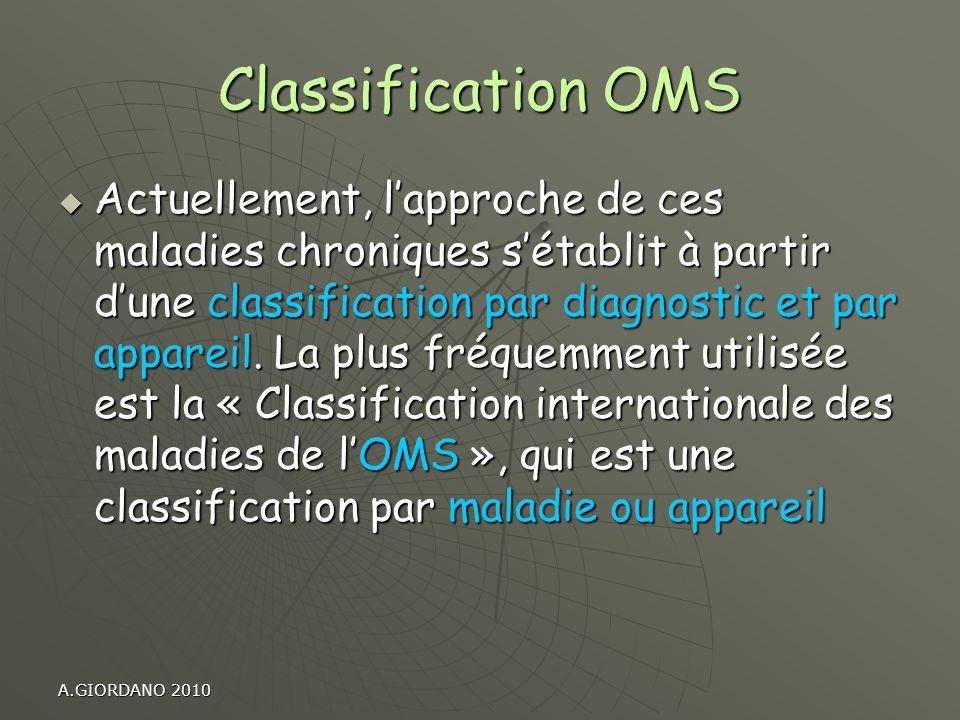 Classification OMS Actuellement, lapproche de ces maladies chroniques sétablit à partir dune classification par diagnostic et par appareil. La plus fr