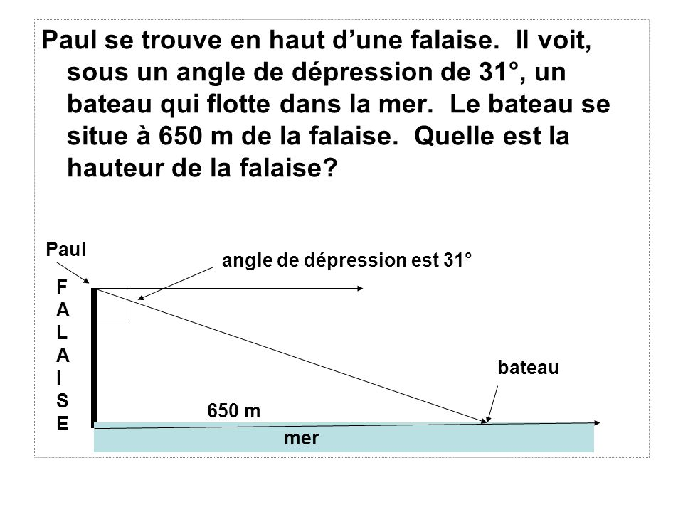 Si langle de dépression est 31°, alors langle A mesure ( 90 – 31) = 59 °.