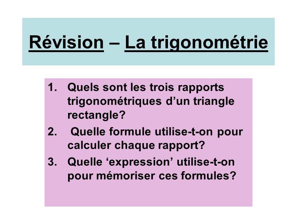 Réponses 1) sinus cosinus tangente 2) sin = opp cos = adj tg = opp hyp hyp adj 3) SOH CAH TOA