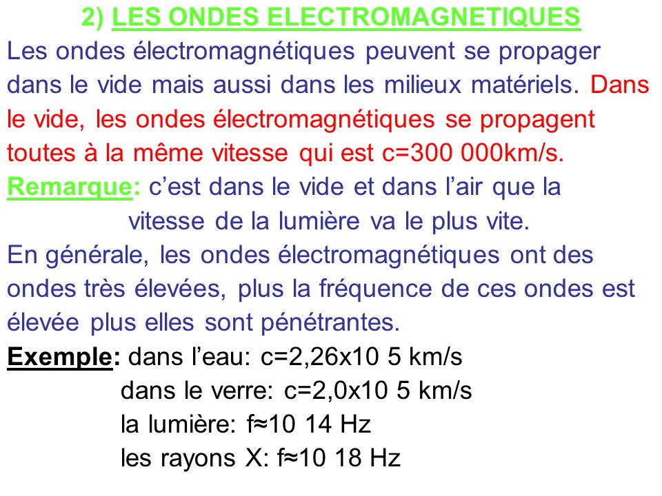 2) LES ONDES ELECTROMAGNETIQUES Les ondes électromagnétiques peuvent se propager dans le vide mais aussi dans les milieux matériels. Dans le vide, les
