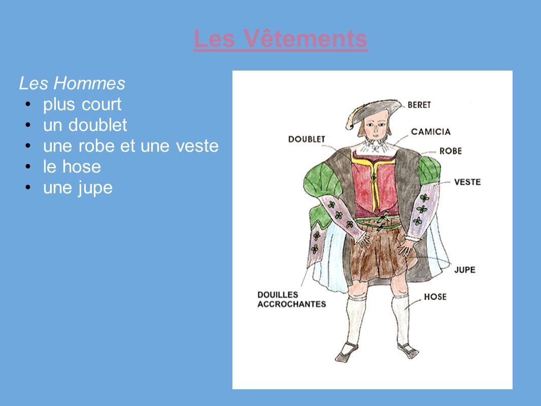 Les Vêtements Les Hommes plus court un doublet une robe et une veste le hose une jupe