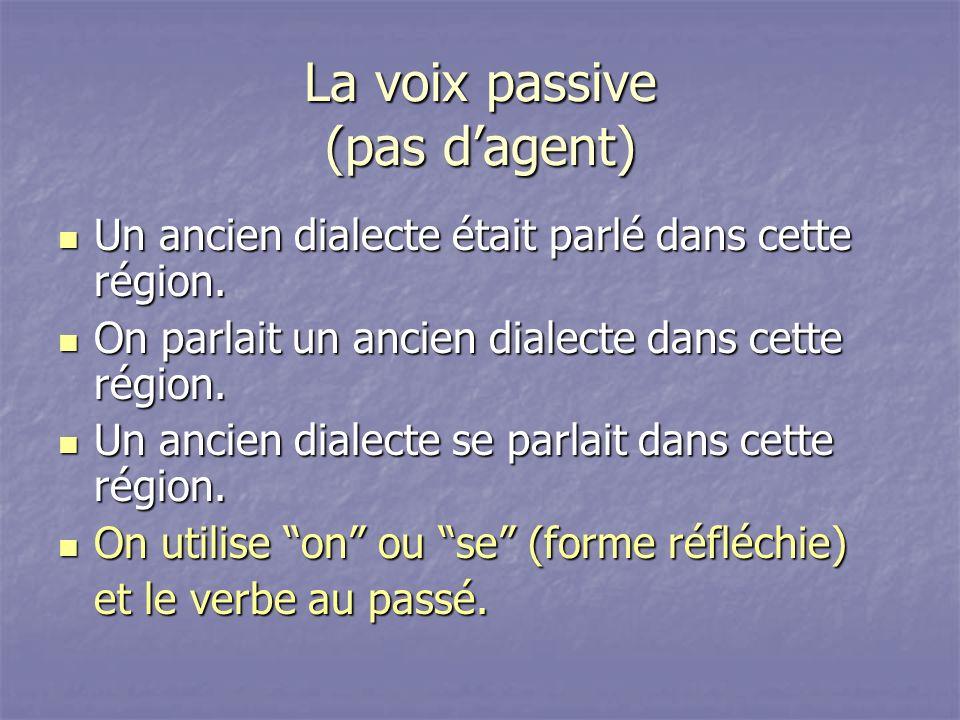 La voix passive (pas dagent) Un ancien dialecte était parlé dans cette région. Un ancien dialecte était parlé dans cette région. On parlait un ancien
