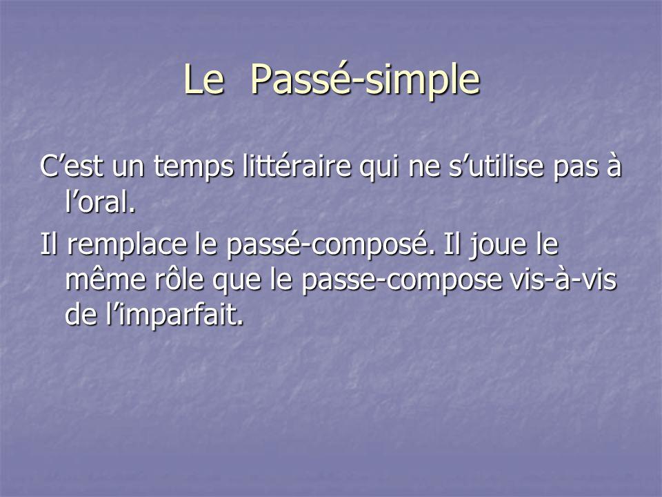 Le Passé-simple Cest un temps littéraire qui ne sutilise pas à loral. Il remplace le passé-composé. Il joue le même rôle que le passe-compose vis-à-vi
