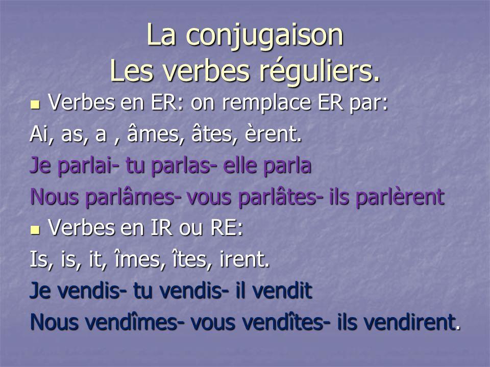 La conjugaison Les verbes réguliers. Verbes en ER: on remplace ER par: Verbes en ER: on remplace ER par: Ai, as, a, âmes, âtes, èrent. Je parlai- tu p