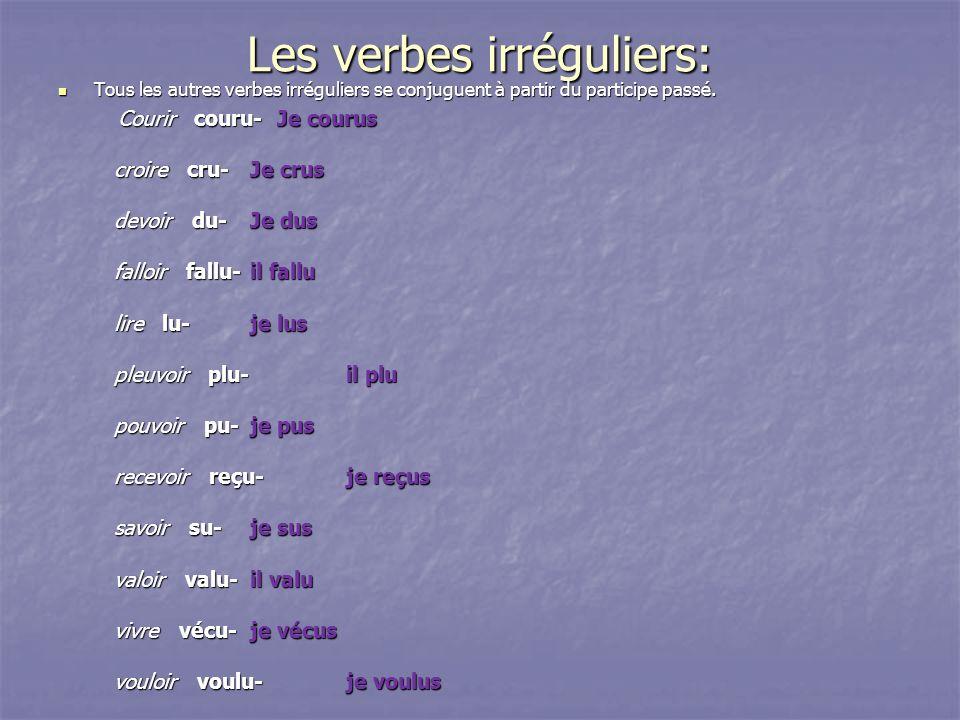 Les verbes irréguliers: Tous les autres verbes irréguliers se conjuguent à partir du participe passé. Tous les autres verbes irréguliers se conjuguent