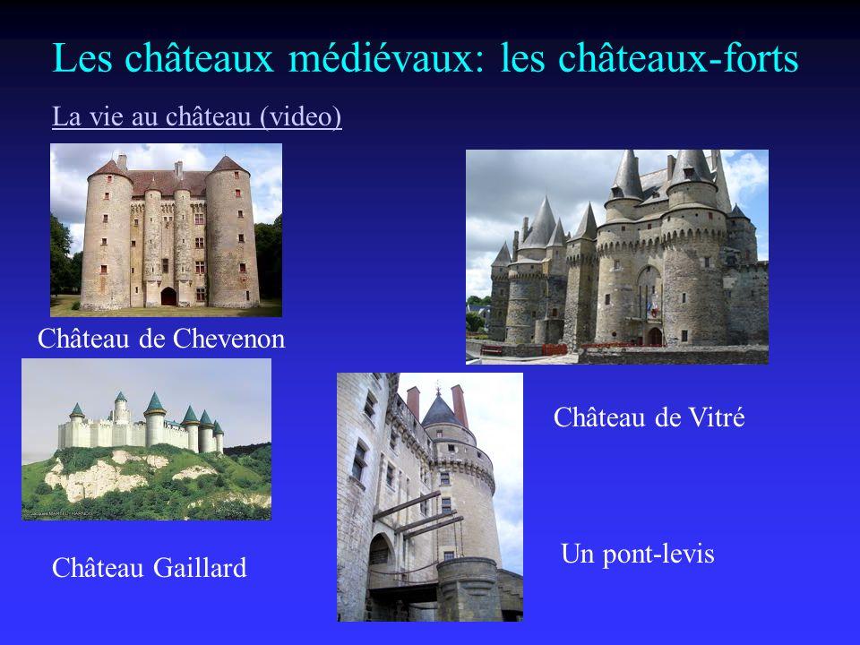 Les châteaux médiévaux: les châteaux-forts Château de Chevenon Château de Vitré Château Gaillard Un pont-levis La vie au château (video)