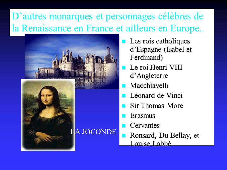 Dautres monarques et personnages célèbres de la Renaissance en France et ailleurs en Europe..