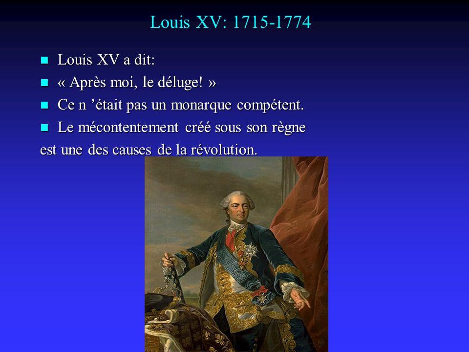 Louis XV: 1715-1774 Louis XV a dit: Louis XV a dit: « Après moi, le déluge.