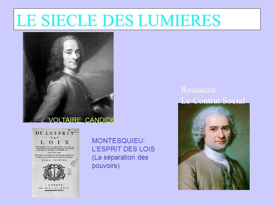LE SIECLE DES LUMIERES VOLTAIRE: CANDIDE MONTESQUIEU: LESPRIT DES LOIS (La séparation des pouvoirs) Rousseau: Le Contrat Social Site web de la bibliothèque nationale de France