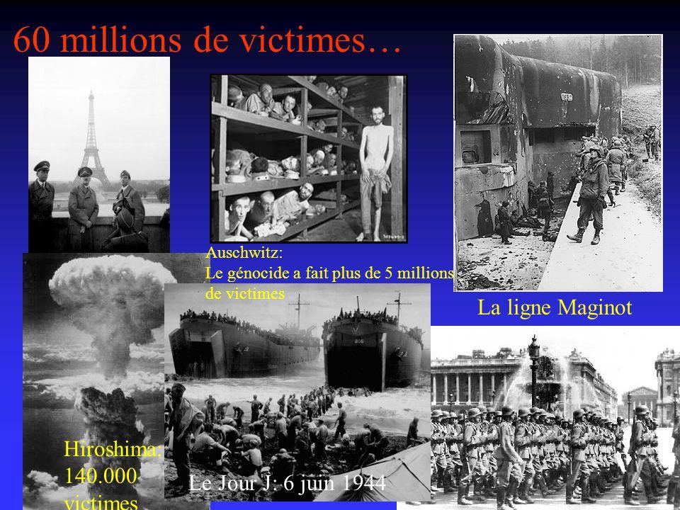 60 millions de victimes… Auschwitz: Le génocide a fait plus de 5 millions de victimes La ligne Maginot Hiroshima: 140.000 victimes Le Jour J: 6 juin 1944