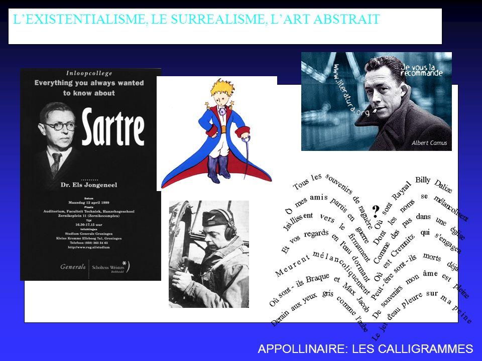 LEXISTENTIALISME, LE SURREALISME, LART ABSTRAIT SAINT-EXUPERY APPOLLINAIRE: LES CALLIGRAMMES