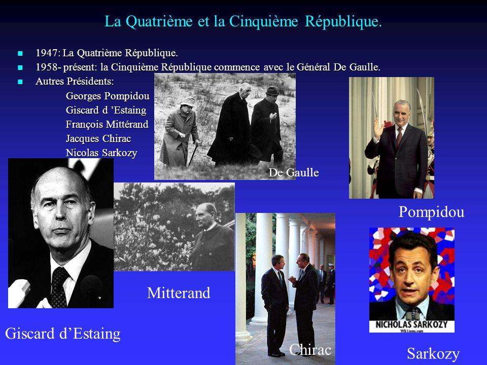 La Quatrième et la Cinquième République.1947: La Quatrième République.