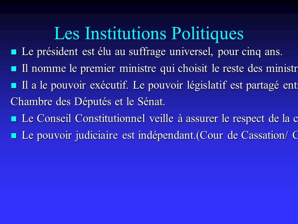 Les Institutions Politiques Le président est élu au suffrage universel, pour cinq ans.