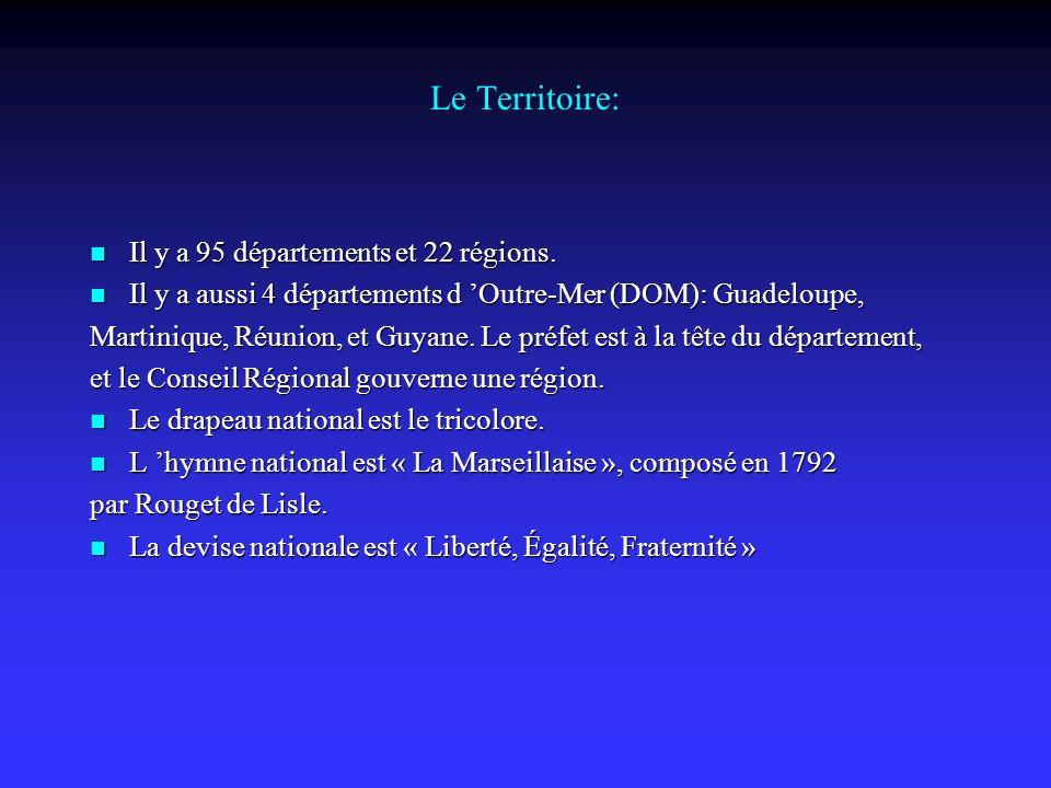 Le Territoire: Il y a 95 départements et 22 régions.
