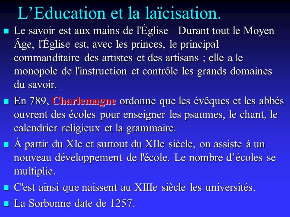 LEducation et la laïcisation.