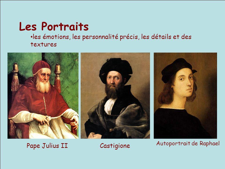 Les Portraits les émotions, les personnalité précis, les détails et des textures Pape Julius IICastigione Autoportrait de Raphael