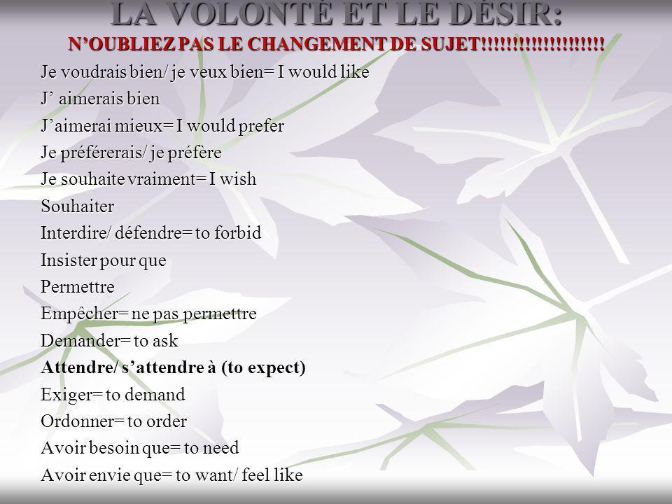 LA VOLONTÉ ET LE DÉSIR: NOUBLIEZ PAS LE CHANGEMENT DE SUJET!!!!!!!!!!!!!!!!!!!! Je voudrais bien/ je veux bien= I would like J aimerais bien Jaimerai