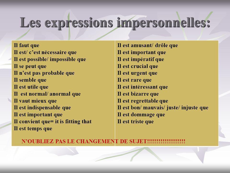 Les expressions impersonnelles: Il faut que Il est/ cest nécessaire que Il est possible/ impossible que Il se peut que Il nest pas probable que Il sem