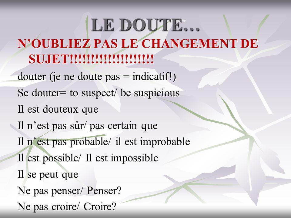 LE DOUTE… NOUBLIEZ PAS LE CHANGEMENT DE SUJET!!!!!!!!!!!!!!!!!!!! douter (je ne doute pas = indicatif!) Se douter= to suspect/ be suspicious Il est do