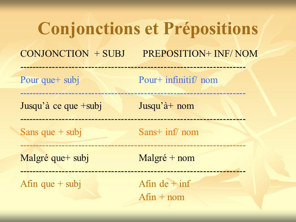 Conjonctions et Prépositions CONJONCTION + SUBJ PREPOSITION+ INF/ NOM --------------------------------------------------------------------- Pour que+